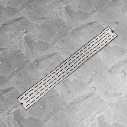 stradeXL Kratka odpływowa, liniowa, 930x140 mm, wzór linii, stal nierdzewna
