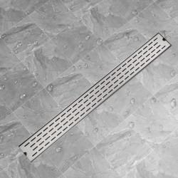 stradeXL Kratka odpływowa, liniowa, 1030x140 mm, wzór linii, stal nierdzewna