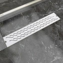stradeXL Kratka odpływowa, liniowa, 630x140 mm, wzór fali, stal nierdzewna