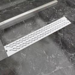 stradeXL Kratka odpływowa, liniowa, 730x140 mm, wzór fali, stal nierdzewna
