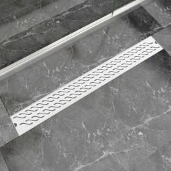 stradeXL Kratka odpływowa, liniowa, 930x140 mm, wzór fali, stal nierdzewna