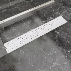 stradeXL Kratka odpływowa, liniowa, 730x140 mm, wzór w kropki, stal nierdzewna