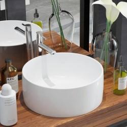 stradeXL Umywalka ceramiczna, okrągła, 40 x 15 cm, biała