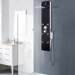 stradeXL Panel prysznicowy, szkło, 25 x 44,6 x 130 cm, czarny