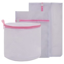 3 Piece Mesh Laundry Bag Set White and Pink