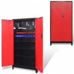 stradeXL Szafa narzędziowa, 2 drzwi, stal, 90x40x180 cm, czarno-czerwona