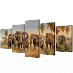 Zestaw obrazów Canvas 100 x 50 cm Słonie