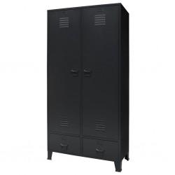 stradeXL Metalowa szafa w industrialnym stylu, 90 x 40 x 180 cm, czarna