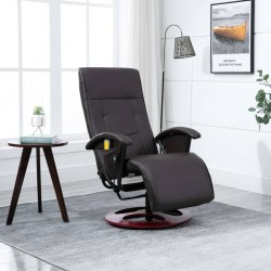 stradeXL Massage Chair Brown Faux Leather