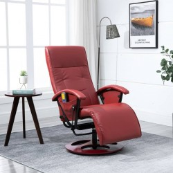 stradeXL Massage Chair Wine Red Faux Leather