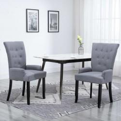 stradeXL Krzesło stołowe z podłokietnikami, jasnoszare, obite tkaniną