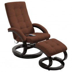 stradeXL Massage Recliner with Footrest Brown Suede-touch Fabric