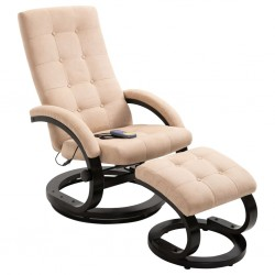 stradeXL Massage Recliner with Footrest Cream Suede-touch Fabric