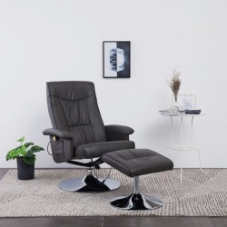stradeXL Massage Recliner with Footstool Grey Faux Leather