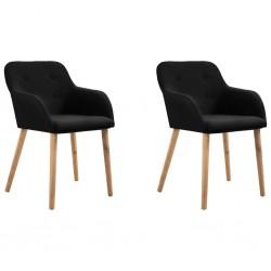 stradeXL Krzesła stołowe, 2 szt., czarne, tkanina i lity dąb