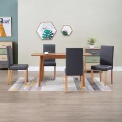 stradeXL Krzesła stołowe, 4 szt., szare, sztuczna skóra
