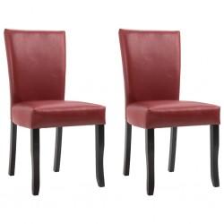 stradeXL Krzesła stołowe, 2 szt., winna czerwień, sztuczna skóra