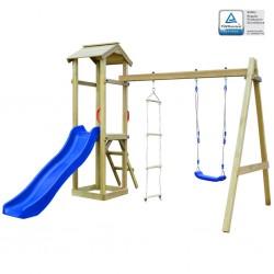 stradeXL Playhouse Set with Slide Ladders Swing 242x237x218 cm Wood