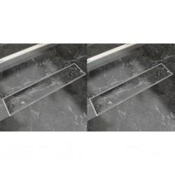 stradeXL Odpływ prysznicowy liniowy, 2 szt., 530x140 mm, stal nierdzewna