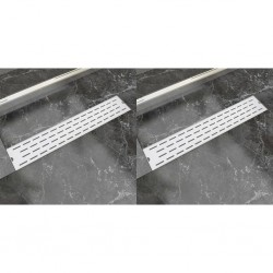 stradeXL Odpływ prysznicowy liniowy, 2 szt., linie, 630x140 mm, stal