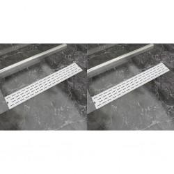 stradeXL Odpływ prysznicowy liniowy, 2 szt., stal nierdzewna, 730x140 mm