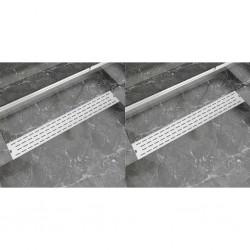stradeXL Odpływ prysznicowy liniowy, 2 szt., linie, 830x140 mm, stal