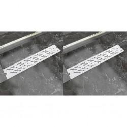 stradeXL Odpływ liniowy, stal nierdzewna, 2 szt., fala, 630x140 mm