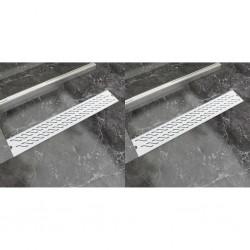 stradeXL Odpływ prysznicowy liniowy, 2 szt., fala, 730x140 mm, stal