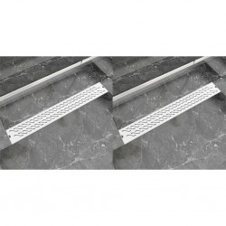 stradeXL Odpływ prysznicowy liniowy, 2 szt., fala, 830x140 mm, stal