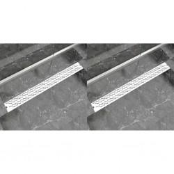 stradeXL Odpływ prysznicowy liniowy, 2 szt., fala, 1030x140 mm, stal