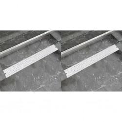 stradeXL Odpływ prysznicowy liniowy, 2 szt., Bubble, stal, 830x140 mm