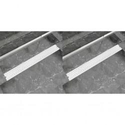 stradeXL Odpływ prysznicowy liniowy, 2 szt., Bubble, stal, 930x140 mm