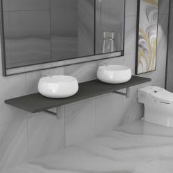 stradeXL Trzyczęściowy zestaw mebli do łazienki, ceramiczny, szary