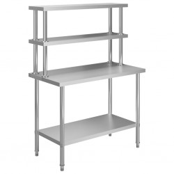 stradeXL Kuchenny stół roboczy z półką, 120x60x150 cm, stal nierdzewna