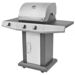 stradeXL Gas Barbecue BBQ Grill 2 + 1 Cooking Zone Black and Silver