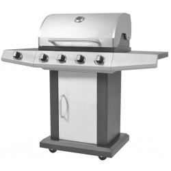 stradeXL Gas Barbecue BBQ Grill 4 + 1 Cooking Zone Black and Silver