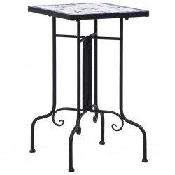 stradeXL Mosaic Side Table Blue and White Ceramic