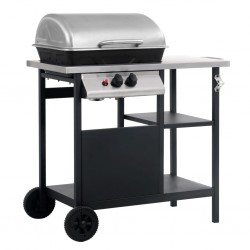 stradeXL Gas BBQ Grill with 3-layer Side Table Black and Silver