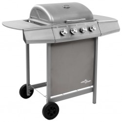 stradeXL Gas BBQ Grill with 4 Burners Silver (FR/BE/IT/UK/NL only)