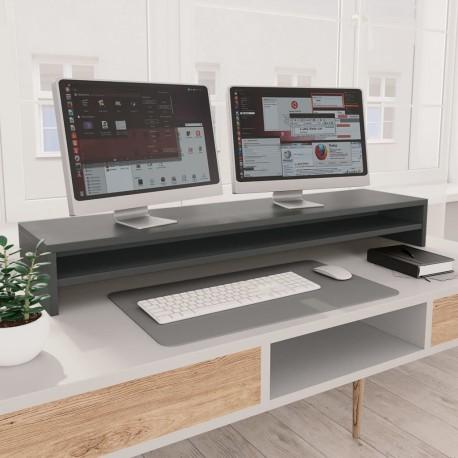 stradeXL Podstawka pod monitor, szara, 100x24x13 cm, płyta wiórowa