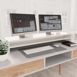 stradeXL Podstawka pod monitor, wysoki połysk, biała, 100x24x13 cm