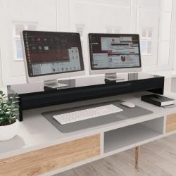 stradeXL Podstawka pod monitor, wysoki połysk, czarna, 100x24x13 cm