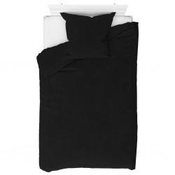 stradeXL Duvet Cover Set Fleece Black 155x220/80x80 cm