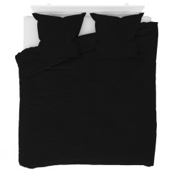 stradeXL Duvet Cover Set Fleece Black 200x200/80x80 cm