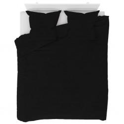stradeXL Duvet Cover Set Fleece Black 200x220/80x80 cm