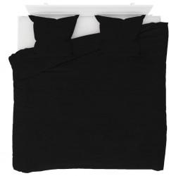 stradeXL Duvet Cover Set Fleece Black 240x220/80x80 cm