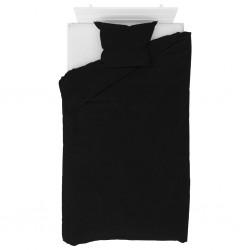 stradeXL Zestaw pościeli, flanelowy, czarny, 140x220/60x70 cm