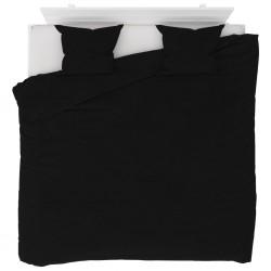 stradeXL Duvet Cover Set Fleece Black 240x220/60x70 cm