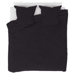 stradeXL Duvet Cover Set Fleece Anthracite 200x200/80x80 cm