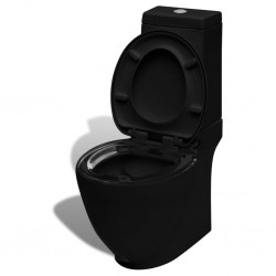 stradeXL Toaleta ceramiczna, odpływ poziomy, czarna